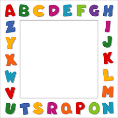 Alphabet Frame, multicolor white border, square copy space