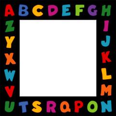 Alphabet Frame, multicolor black border, square copy space