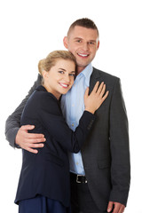 Businesspeople embracing each other