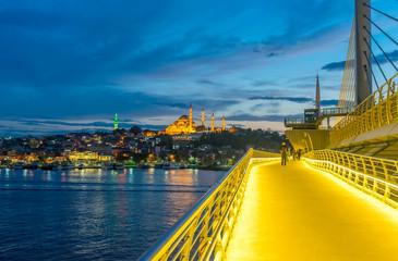 Stunning view of New Galata Bridge at dusk, Istanbul