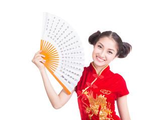 Chinese woman red dress traditional cheongsam holding folding fa