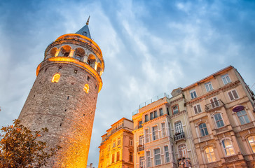 Stunning structure of Galata Tower at dusk, Istanbul