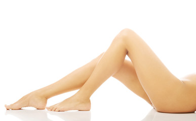 Close up on perfect female legs