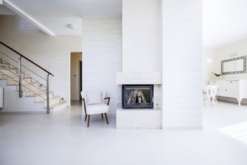 The fireplace in the open space