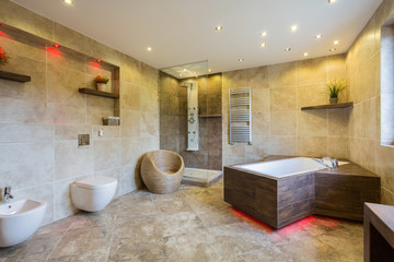 Luxury and modern bathroom interior