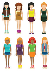 Frontview of faceless women