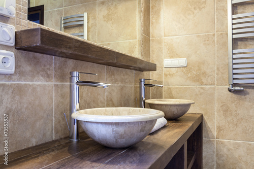 canvas print picture Expensive toilet with marble washbasin