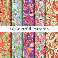 set of ten colorful patterns