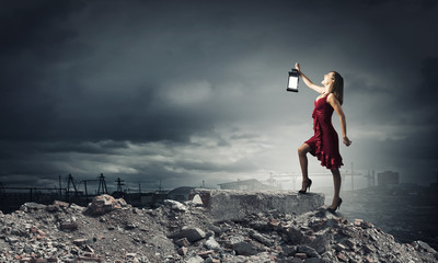 Woman with lantern