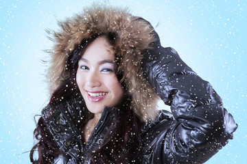 Cute lady wearing winter clothing