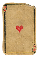antique used playing card ace of hearts background