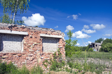 rural landscape with old farm ruins