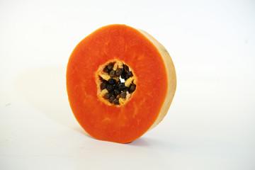 Papaya on a white background..