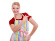 housewife making inviting welcome gesture kitchen isolated