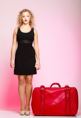 lady in voyage, traveler woman with old red bag