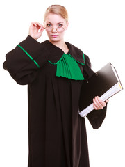Young female lawyer attorney classic polish black green gown