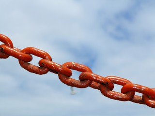 steel metal chain links segment sky background