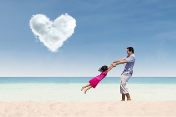 Happy time with dad under heart cloud