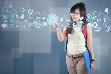 High school student using modern technology