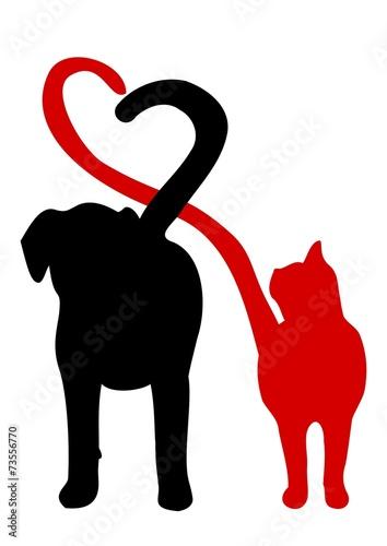 しっぽでハートを作る犬と猫のシルエット
