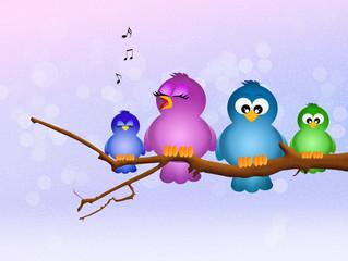 bird singing on branch