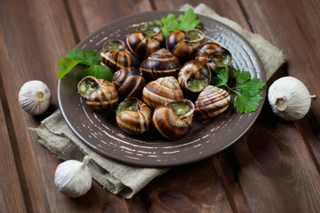 Baked snails with garlic butter and herbs, rustic wooden surface