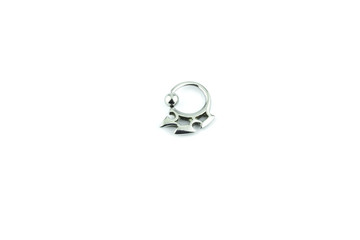 Silver earring on white background