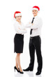 Businesspeople in Christmas hats isolated on white