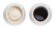 cappuccino and black espresso coffe cup top view isolated on