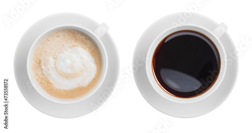 Foto op Canvas Koffie cappuccino and black espresso coffe cup top view isolated on