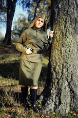 Girl in the uniform of the red Army