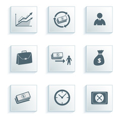 banking-icon-set-on-a-gray-background-effect-paper