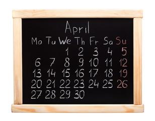 2015 year calendar. April. Week start on monday