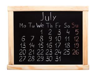 2015 year calendar. July. Week start on monday