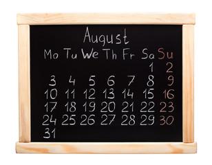 2015 year calendar. August. Week start on monday