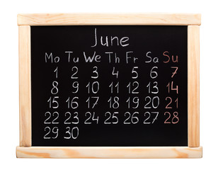2015 year calendar. June. Week start on monday