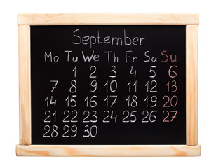 2015 calendar. September. Week start on monday