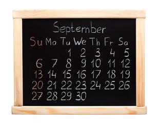 2015 calendar. September. Week start on sunday