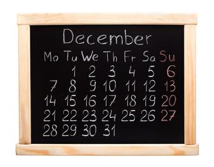 2015 year calendar. December. Week start on monday