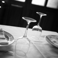 Table set for lunch in a restaurant