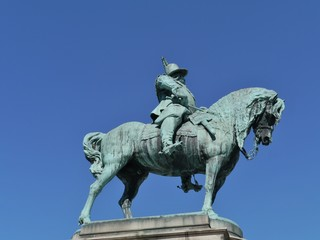 A bronze statue of King Karl X Gustav in Malmo in Sweden