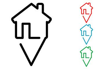Pictograma silueta localizacion vivienda con varios colores