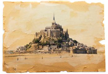 cartolina vintage mont saint michel