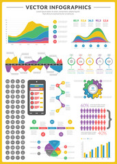 Big pack of data visualization vector infographics