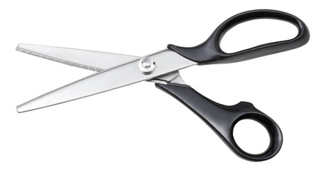 modern pinking scissors with black handles