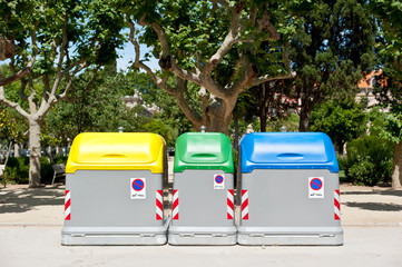 Recycling containers on the street