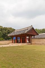 Gate of Yeongnyeongjeon Hall of Jongmyo Shrine in Seoul, Korea