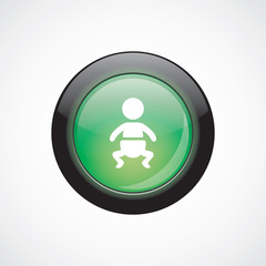 baby glass sign icon green shiny button
