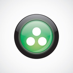 circle diagram glass sign icon green shiny button