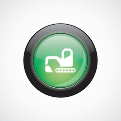 excavator glass sign icon green shiny button